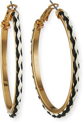 Kenneth Jay Lane Leather Hoop Earrings, Black/White
