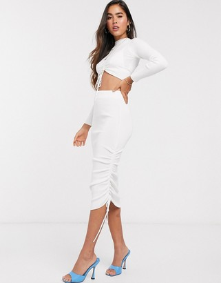 ASOS DESIGN two-piece ruched detail knitted midi skirt