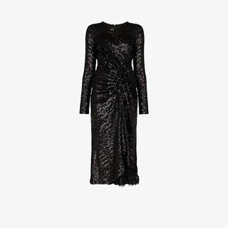 Preen by Thornton Bregazzi Farra Draped Sequin Midi Dress