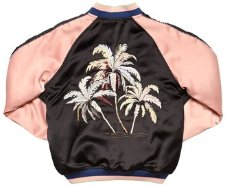 Finger In The Nose Embroidered Satin Bomber Jacket