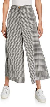 McQ High-Rise Gingham Wide-Leg Trousers