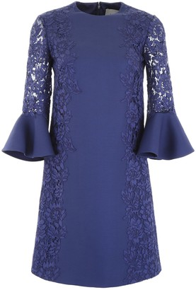 Valentino Lace Sleeve Shift Dress