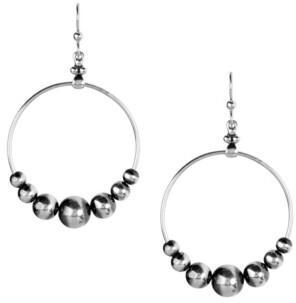 American West by Carolyn Pollack Native Pearl Beaded Dangle Hoop Earring in Sterling Silver