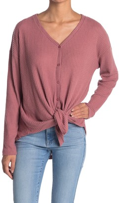 Gibson Thermal Knit Tie Front Button Down Top