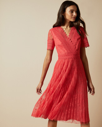 Ted Baker SONYYIA V neck lace midi dress