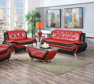 US Pride Furniture 2 Piece Modern Bonded Leather Sofa Set with Sofa and Loveseat