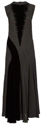 Loewe Velvet-panelled Crepe Maxi Dress - Black