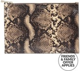 Aspinal of London Essential Large Flat Snake Print Pouch- Brown Multi