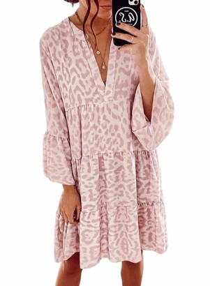AlvaQ Womens Sexy Deep V Neck Ruffle Long Sleeve Leopard Print Casual Loose Fit Midi Dress Pink