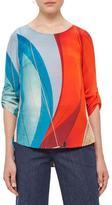 Akris Punto Alice Sail-Print 3/4-Sleeve Blouse, Mainsail Print