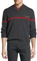 Balenciaga Logo Stripe V-Neck Sweater