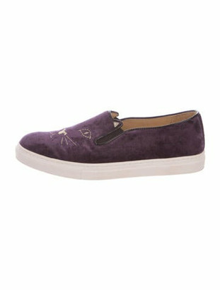 Charlotte Olympia Embroidered Accent Sneakers Purple