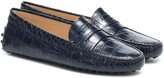 Timeless Pearly Gommino croc-effect leather loafers