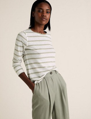 Marks and Spencer Linen Striped Straight Fit Long Sleeve Top