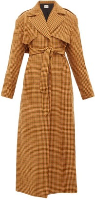 KHAITE Blythe Checked Wool Trench Coat - Womens - Brown Multi