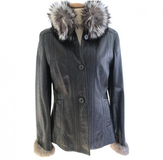 Carolina Herrera Black Fox Leather Jacket for Women