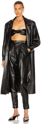 Alessandra Rich Oversized Leather Coat in Black | FWRD
