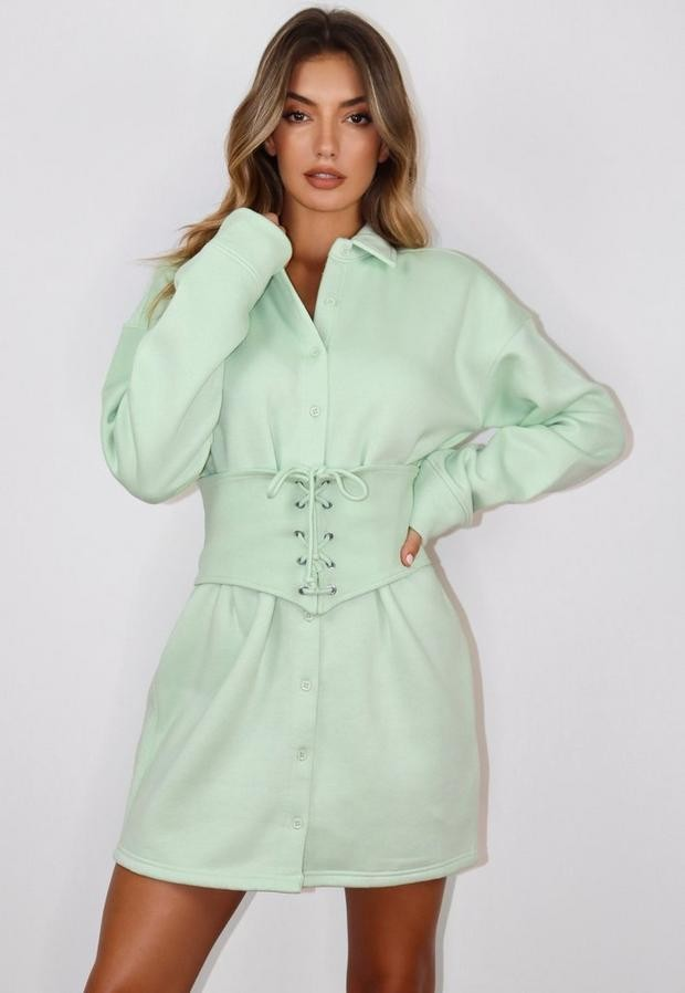 Missguided Mint Corset Waist Fleece Brushed Back Shirt Dress