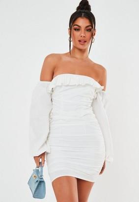 Missguided White Cotton Frill Bardot Mini Dress