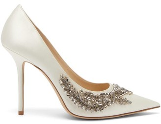 Jimmy Choo Love Crystal-embellished Satin Pumps - White