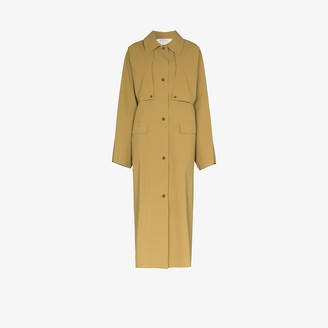 Kassl Editions Button-Up Collared Cotton Blend Coat