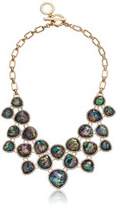 Anne Klein Women s Shaky Necklace with abalone and crystal stones set in gold tone plating