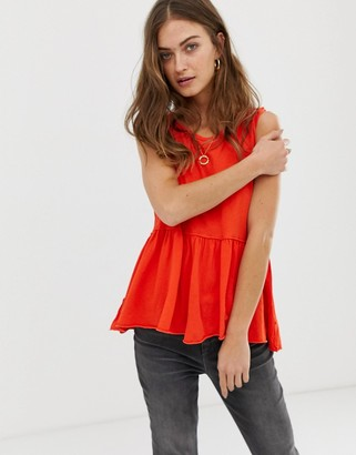 Free People Anytime peplum vest-Red