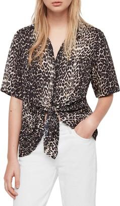AllSaints Sirena Feline Tie Front Shirt