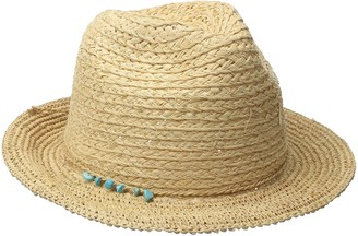 San Diego Hat Company Women's Fedora Hat with Crochet Brim and Turquoise Trim