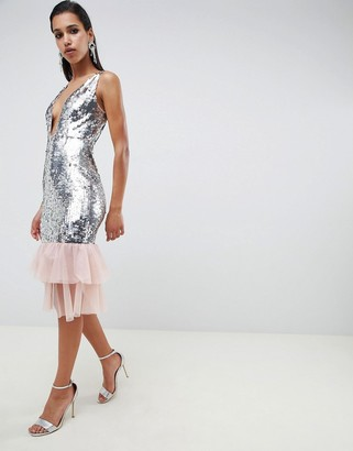 ASOS DESIGN Embellished Sequin Plunge Midi Dress with Tulle Pephem