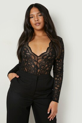 boohoo Plus Plunge V Neck Lace Bodysuit