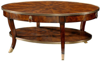 """Theodore Alexander Circles 52"""" Oval Cocktail Table - Tawny tawny/caramel/gold"""