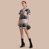 Burberry Reclining Figure: Bunched Print Silk Dress with Neck Tie