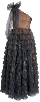 RED Valentino One-Shoulder Glitter Tiered Gown