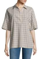 Lafayette 148 New York Mitra Spread Collar Plaid Blouse