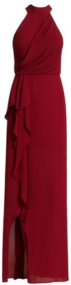 Halston Sleeveless Mock Neck Drape Front Side Slit Column Gown