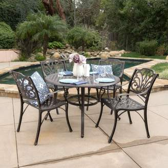 Christopher Knight Home Alfresco 5pc Cast Aluminum Dining Set - Bronze