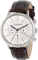 Akribos XXIV Men's AK647BR Ultimate Swiss Multifunction -Tone Stainless Steel Brown Leather Strap Watch