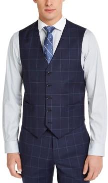 Tommy Hilfiger Men's Classic-Fit Th Flex Stretch Navy Blue Windowpane Suit Vest