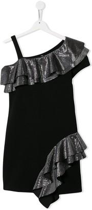 Balmain Kids TEEN frill trim off-the-shoulder dress