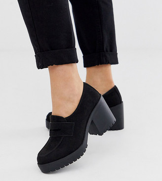 ASOS DESIGN Wide Fit Stockton chunky loafers in black