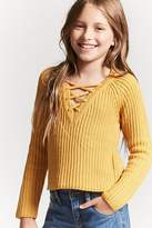 FOREVER 21 girls Girls Ribbed Knit Lace-Up Sweater (Kids)