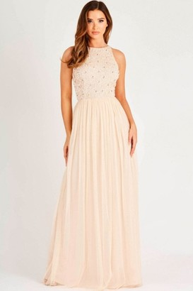 Lace & Beads sequin maxi dress with soft mesh skirt