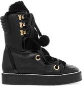 Nicholas Kirkwood Kira Shearling-trimmed Textured-leather Boots - Black
