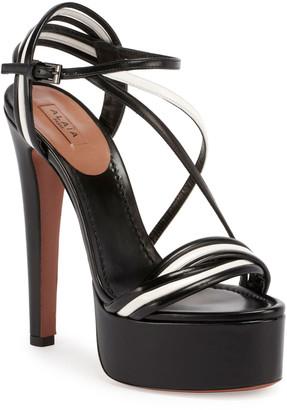 Alaia Tubular Platform Two-Tone Sandals