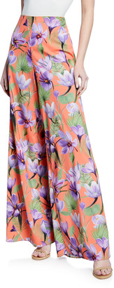 Alice + Olivia Athena Floral-Print High-Rise Wide-Leg Pants