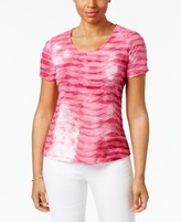 Karen Scott Petite Printed Wave-Texture Top, Created for Macy's