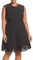 Tahari Plus Size Women's Mesh Trim Sleeveless Crepe Fit & Flare Dress