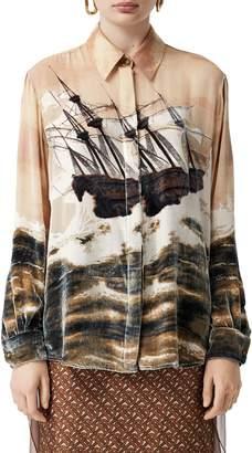 Burberry Print Velvet & Chiffon Shirt