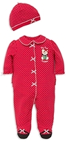 Little Me Boys' Dotted Holiday Bear Footie & Hat Set - Baby